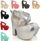 NEW WOMENS PLATFORM DEMI WEDGE LADIES STRAPPY PEEP TOE HIGH HEEL SHOES SIZE 3-8
