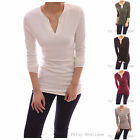 V Neck Long Sleeve Stretch Pullover Fitted Casual Tunic Blouse Knit Top