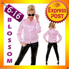 J86 Ladies Pink Satin Jacket Lady 50's 1950's Frenchie Rizzo Fancy Dress Costume