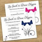 Personalised Butterfly Wedding Invitations Day / Evening Invites Various Colours
