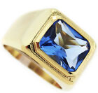 Mens Solitaire Light Sapphire Blue St. 18kt Gold Plated Ring