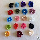 Pack of 8 Satin Ribbon Poinsettia Flowers with Diamante Centre. BN