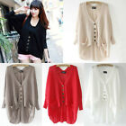NEW Women Ladies Loose Hollow Asym V-Neck Batwing Knitted Sweater Cardigan Tops