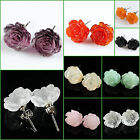 "12mm Handmade carved Gemstone lovely rose flower stud earrings 1/2"" Wholesale"