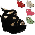 NEW WOMENS FAUX SUEDE PEEP TOE LADIES STRAPPY PLATFORM WEDGE HEEL SHOES SIZE