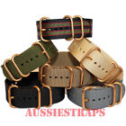 ZULU® 3 Ring Bronze Buckle 20mm 22mm 24mm military divers Nylon watch strap band