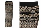 NEW LADIES BLACK  MOCHA AZTEC PRINT LONG JERSEY MAXI DRESS SKIRT SIZE 8-16