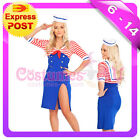 Sailor Ladies Rockabilly Uniform Pin Up Fancy Dress Up Costume Outfit + Hat