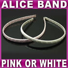 Satin Alice band headband Ribbon covered fabric hair band pink or off white NEW