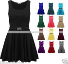 Womens Ladies Sleeveless Flared Franki Belted Skater Dress Top 8-14