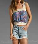 100% AUTH LUCCA COUTURE FLORAL CROCHET HEM CROP TANK TOP CAMI BNWT