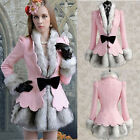 Womens Ladies Faux Fur Coat Bowknot Falbala Short Dress Pink Wool Blend Jackets