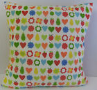NEW SINGLE TRENDY CUSHION COVERS RED HEARTS GREEN APPLE PEAR BLUE ORANGE BACKING
