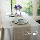 20pcs Jute Burlap Table Runner With Lace Trim Wedding Party Banquet Event Decor
