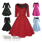 Vintage Dress 1950s 1960s Party Red Black Polka Dot Sleeve Collar Size UK 6-26