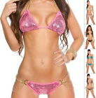 GLAM GIRL Sexy Sequin Padded Top & Scrunched Bikini Swimsuit Swimwear - S/M/L