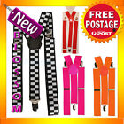 AS110 Unisex Clip-on Braces Elastic Y-back Suspenders Adjustable Elastic