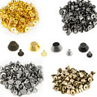 50 x Bucket Mushroom Cone Punk Spike Screw Back Studs/Rivets - BRASS - UK SELLER