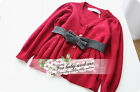1753 Boutique Knit Cotton Cardigan Sweater Grey Belt Very Pretty NWT Size 4T-8T
