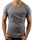 NEW MENS PLAIN CHARCOAL GREY T SHIRT SLIM FIT CREW NECK CASUAL FASHION MUSCLE