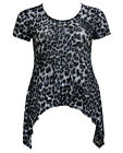 BLACK CHEETAH BURNOUT PLUS JUNIOR HI LOW WOMEN'S CLOTHING TOP SHIRT 1X 2X OR 3X