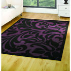Flair Element Warwick Rug In Black And Purple - Various Sizes Available