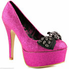 ABBEY DAWN BY AVRIL LAVIGNE TOUGH CROWD HOT PINK  SKULL STUDDED PLATFORM  SHOES