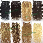 "Any color REAL Curly CLIP IN HUMAN HAIR EXTENSIONS BODY WAVY 18""20""22"" 70g 100g"
