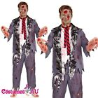 Mens Halloween Zombie Bloody Horror Costume School Boy Student Fancy Dress Adult