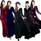 Fashion Winter Women's V-Neck Gorgeous Shimmer Velvet Stretchy Long Sleeve Dress