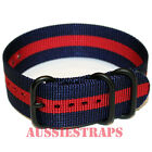 PREMIUM ZULU PVD 3 Ring NAVY RED 20mm,22mm,24mm Military Divers watch strap band