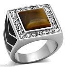 Mens Square Brown Cat Eye Stone Silver Stainless Steel Ring