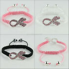 Crystal Ribbon Breast Cancer Awarenes Connector Alloy Macrame Adjust Bracelet