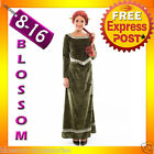 I23 Deluxe Princess Fiona Green Shrek Fancy Dress Adult Tudor  Medieval Costume