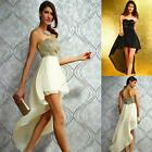 Sexy Sequin Strapless High Low Formal Prom Evening Long Gown Chiffon Party Dress
