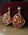 Simulated Diamond/Ruby Crystal Dangling Hollow-out Rose Earring/RGE338