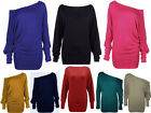 NEW WOMENS PLUS SIZE OFF SHOULDER LADIES BAGGY BATWING LONG SLEEVE  DRESS TOP