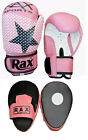 PINK Boxing Curved Focus Pads With Boxing Gloves Hook and Jab Punch Bag Kick MMA