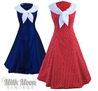 Vintage 1950's 1960s Swing Rockabilly Nautical Sailor Evening Party Tea Dress