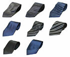 Mens Jacquard Silk Satin Tie Black Blue Navy Stripe Plain Color Necktie