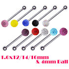 Multi Crystal Glitter Gem Barbell Tongue Bar Surgical Steel 1.6x12/14/16mm