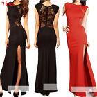 Womens lace Crochet High Slit Backless Slim See Through Party Long Maxi Dress