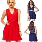 Red Blue Lace V Neck Chiffon Mini Skater Casual Summer Cocktail Party Sexy Dress