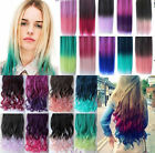 HOT Rainbow 50-60cm Long Curl Straight Clip-On Synthetic Hair Extension 20 Color