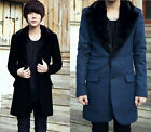 Men Vintage Fur Collar Trench Coat Jacket Outwear Slim 4 Colors MCOAT183