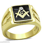 Mens Masonic Mason With Small Crystal Gold Plated Stainless Steel Ring
