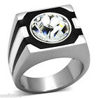 Mens 12MM Round Crystal White Black Silver Stainless Steel Ring