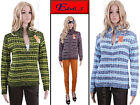 New Zip Cardigan Thick Warm Winter Knitted Sweater Knitwear Striped Melange