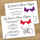 1 - 100 Personalised Red Butterfly Day or Evening Wedding Invitations 12 Colours
