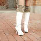 WINTER NEW Womens Leather Pull On HIGH Heel Over Knee High Boots Shoes Plus Size